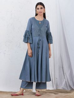 The Loom- An online Shop for Exclusive Handcrafted products comprising of Apparel, Sarees, Jewelry, Footwears & Home decor. Pakistani Kids Dresses, Pakistani Dress Design, Salwar Designs, Blouse Designs, Kurti Sleeves Design, Cotton Gowns, Kurti Embroidery Design, Shrug For Dresses, Indian Designer Wear