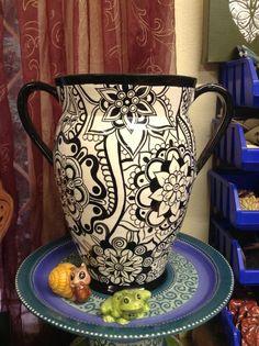 Black & white ceramic painted vase