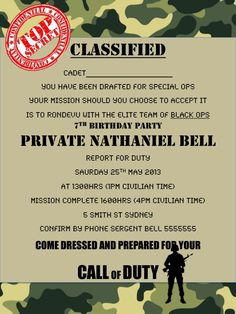 Military Army call of duty black ops party invitation