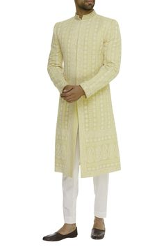 Buy Lucknowi Embellished Sherwani by Bubber Couture - Men at Aza Fashions