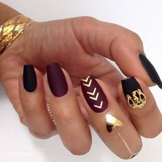 Gorgeous #matte & #gold #manicure by @riyathai87! #nailart #naildesign