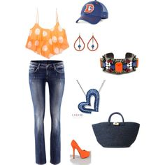 """""""Broncos Game"""" on Polyvore--Don't think they allow purses like that in the stadiums anymore though"""