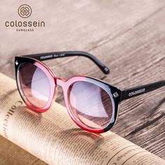 b6a63151cf COLOSSEIN Round Frame Oceanic Color Lens for Women Fashion Sunglasses