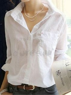 2016 Autumn Style Women Shirts Fashion Female Shirt Turn Down Collar Long Sleeve Tops Casual White Cotton Blouse Blusas White Cotton Blouse, Cotton Blouses, Cotton Linen, White Linen Shirt, White Blouses, Women's Blouses, Long Sleeve Tee Shirts, Long Sleeve Tops, How To Have Style