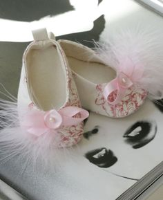 Baby Shoes 0 - 18 Months - Baby Girl Shoes - Lt. Pin k Toile de Joey with Flowers//Feathers Couture Ballet Slippers - Baby Souls Baby Shoes. $30.00, via Etsy.