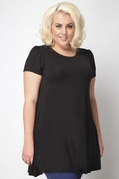 Black Longline Jersey Top With Draped Back And Lace Insert