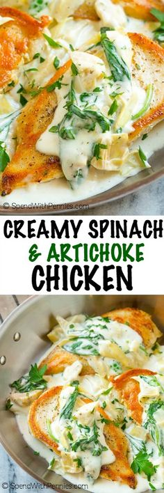 This creamy spinach and artichoke chicken is a quick and easy meal of seared chicken breasts in a simple yet flavor packed sauce. You can have a restaurant quality dinner on the table in less than 30 minutes!