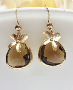 Gold orchid earrings - Smokey Quartz - Gold filled - Brown Stones - Beautiful Jewelry -