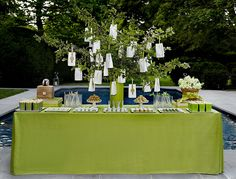 Outdoor, green dessert table by ArtisanCakeCompany, via Flickr