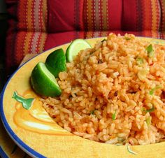Mexican rice  with lime
