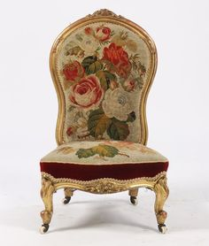needlepoint chairs | 66: ANTIQUE FRENCH GILTWOOD NEEDLEPOINT CHAIR