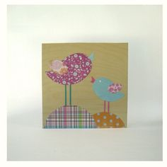 Birds girls collage eco friendly on wood25x25Wall by pitsispopis, $47.00