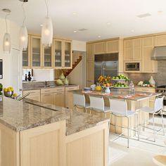 Light Maple Cabinets, brown granite, under cabinet hood