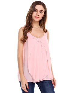 O-Neck Solid Front Pleated Bow Chiffon Tank Top