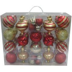 Holiday Time 64-Piece Shatterproof Christmas Ornament Set, Choose a Color - Walmart.com