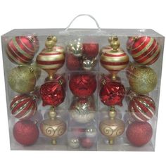Holiday Time 64-Piece Shatterproof Christmas Ornament Set, Choose a Color - Walmart.com