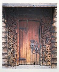 Door to Gaupne Old Church, a wooden church, constructed in 1647, Norway