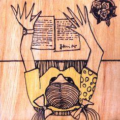 MARIANELA  ( segunda versión )    Marianela lee una carta que recibió la semana pasada  autor: RAMIRO QUESADA  técnica: mixta  dimensiones: 15 CM por 15 CM   quesada_100