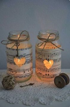 10 Vintage Sheet Music Glass Jars – Wedding Decorations Candles Five Dock Canada Bay Area image 2 is creative inspiration for us. Get more photo abo… 10 Vintage Sheet Music Glass Jars – Weddi… Mason Jar Projects, Mason Jar Crafts, Bottle Crafts, Crafts With Glass Jars, Vintage Sheet Music, Vintage Sheets, Sheet Music Crafts, Sheet Music Decor, Pot Mason Diy