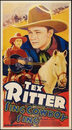 Country-western singing star Tex Ritter rode tall in the saddle during his Hollywood heyday of the and Ritter starred in a slew of low-budget movie westerns including such films as Song of the Gringo, Hittin' the Trail, Rollin' Pla Tex Ritter, Old Western Movies, Western Film, Comic Book Characters, Comic Books, Cowboy Films, Sing Movie, Caricature Artist, Vintage Movies