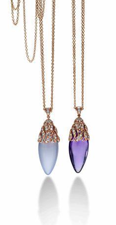 Ginza Pendants. Rose gold, white diamonds, chalcedony and amethyst. Design Andrea Pinato for Luca Carati.