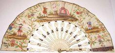 Abanico. Siglo XVIII. Acuarela sobre papel, marfil, hueso y apliques. Museo de Arte Colonial. Bogotá, Colombia