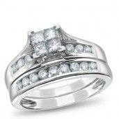 NK Mosaic Diamond Collection, 14K White Gold Bridal Set, 1 ctw