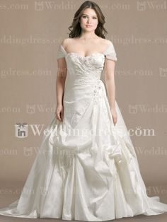 Dress ideas.                                      Taffeta Cap Sleeves Plus Size Bridal Dress PS178 $269