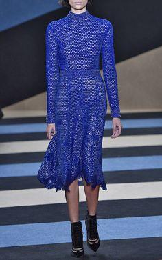 Derek Lam Beaded Crochet Mock Neck Dress