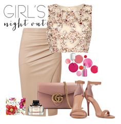 """Untitled #246"" by elenarudometov ❤ liked on Polyvore featuring Raishma, Gucci, Halston Heritage, Clinique and girlsnightout"