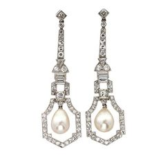 Mots-clésArt Deco, natural pearl, Natural Pearl Diamond Drop Earrings