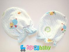Premature Baby Mittens, 100% Cotton Blue