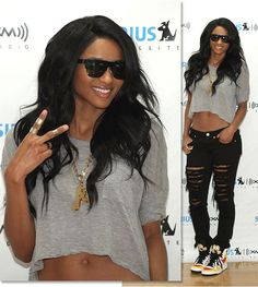 ciara style | And today, Ciara visited Sirius XM radio wearing a ripped tee ...