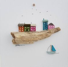 A beautifully cute coastal town picture produced from hand collected drift wood. Inspired by the coastal towns of South Wales, United Kingdom. The Picture is unnamed, but you can include a personalised inscription of your choosing. Please add your custom inscription in the notes