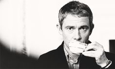 Martin Freeman drinking tea. | 25 Extremely British GIFs   <3