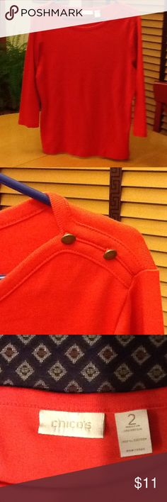 Chico's 3/4 sleeve top Orange knit boat neck with two buttons on each shoulder. Machine wash, 100% cotton. Great condition. Chico's Tops