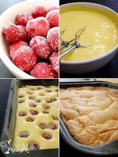 Pandispan cu fructe (visine) ~ bucatar maniac - I Cook Different No Cook Desserts, Sweets Recipes, My Recipes, Cake Recipes, Cooking Recipes, Romanian Desserts, Romanian Food, Delicious Deserts, Yummy Food
