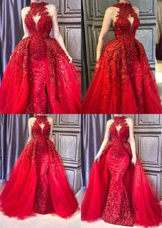 detachable prom dresses 2020 halter neckline two pieces prom dress formal dresses arabic red evening gowns lace party dresses Lace Party Dresses, Red Wedding Dresses, Ball Dresses, Elegant Dresses, Beautiful Dresses, Lace Dress, Prom Dresses, Formal Dresses, Wedding Lace