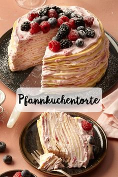 Pfannkuchen Torte - Pfannkuchen-Torte Kuchen Pfannkuchen Waffeln Pancakes Himbeeren Geburtstag Kindergeburtstag Party G - Party Desserts, Fall Desserts, Healthy Dessert Recipes, Cake Recipes, Dessert Nouvel An, Pancake Healthy, Pancake Cake, Brownie, Pumpkin Spice Cupcakes