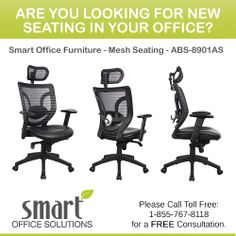 Having comfortable and ergonomically sound seating in your office is essential. The right seating can help ensure the well-being of employees and contribute to increased productivity. For more information, please call us Toll Free: Paint Upholstery, Smart Office, Panel Systems, Productivity, Free, Paint Trim
