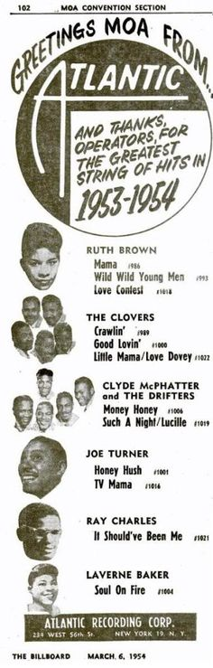 1954 Atlantic record ad for various artists including Ray Charles, Ruth Brown and The Clovers