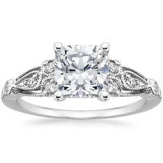 18K White Gold Rosabel Diamond Ring from Brilliant Earth - w/ Cushion diamond $975
