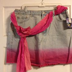Dip dyed denim mini skirt/matching scarf/sash belt Super cute and fun dip dyed ombré pink accent color .  This is above the knee in length.  New with tags.  I ordered it and unfortunately was too snug to wear in public!  Lol!  Size 18 Its our time Skirts Mini