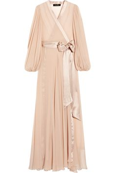 Jenny Packham Silk-chiffon robe in antique rose    This reminds me a little bit of something worn in White Christmas