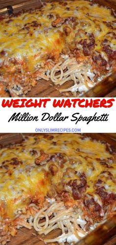 Weight Watchers Spaghetti Recipe, Weight Watchers Casserole, Weight Watchers Tips, Weight Watchers Breakfast, Weight Watcher Dinners, Spaghetti Recipes, Spaghetti Bake, Cheesy Spaghetti, Ww Recipes