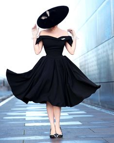 Apr 2020 - Black A Line Off the Shoulder Bow Sleeves Vintage Party Dress Black Women Fashion, Look Fashion, Retro Fashion, Vintage Fashion, Womens Fashion, 1950s Fashion Women, 1950s Fashion Dresses, Victorian Fashion, Beautiful Red Dresses