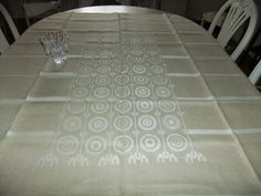 Vintage Beautiful Tampella linen tablecloth Timber Dora Jung design by AnnChristinsVintage on Etsy