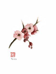 Cherry Blossom Sakura Pink Tree Delicate White Flower Flowers Branch Watercolor Painting by Johana Szmerdt