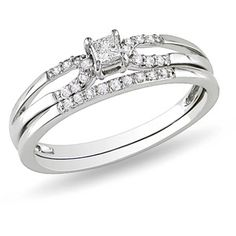 My dream engagement ring and wedding band.  1/5 Carat T.W. Princess Diamond Bridal Set in 10kt White Gold.