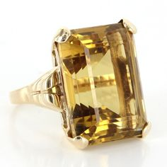Pre-Owned Vintage Deco Retro 14 Karat Yellow Gold Large 28 Carat... ($1,195) ❤ liked on Polyvore featuring jewelry, rings, no color, yellow gold citrine ring, citrine gold ring, 14k gold jewelry, yellow gold cocktail rings and art deco ring